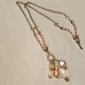 beautiful gold and pink two length necklace